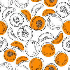 Hand drawn sketch style peach pattern