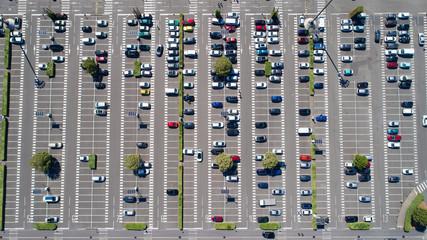 Vue aérienne d'un parking de supermarché