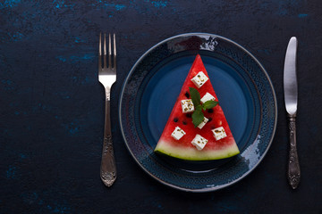 Slice of watermelon and feta cheese