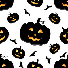 Funny background of Halloween pumpkins with carved smiles. Vector illustration for a postcard or a poster, print on clothes or wrapping paper.