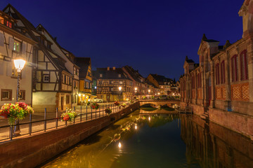 Night view of the traditional street of Colmar, Alsace, France