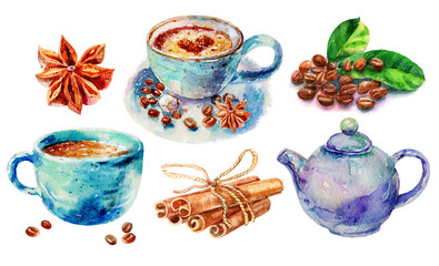 Watercolor Hand Work Original Coffee With Cinnamon, Cappuccino, Cinnamon Rolls And Teapot Illustration Isolated On White Background. Hand Drawn Collection Sketch Illustration Set With