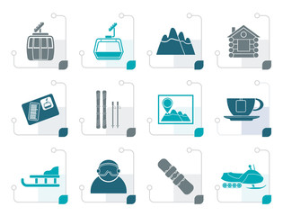 Stylized Ski Track and sport icons - vector icon set