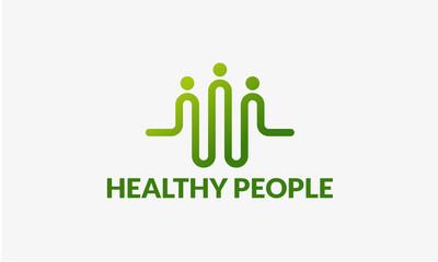 community logo template designs vector illustration, Healthy People logo