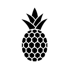 Pineapple tropical fruit with leaves flat vector icon for food apps and websites