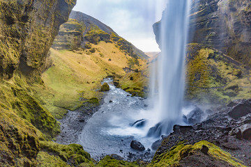 Behind Kvernufoss in Iceland