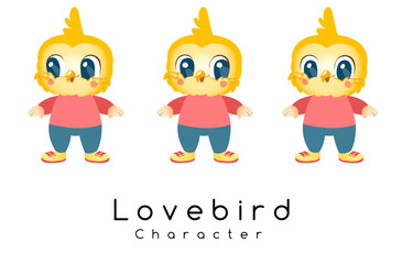 Cute Bird Mascot on White Background : Vector Illustration