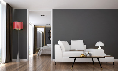 Fototapeta The interior of modern living room and bedroom service apartment design obraz