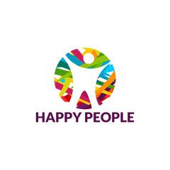 Happy People Logo template designs vector illustration