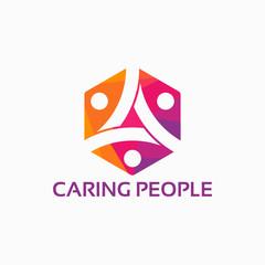 community logo template designs vector illustration, Caring logo template designs