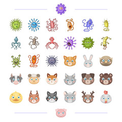 The virus, bacteria, diseaseand other web icon in cartoon style. Domestic and wild animals icons in set collection.