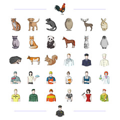 fauna, profession, work and other web icon in cartoon style.ears, tail, paws, icons in set collection.