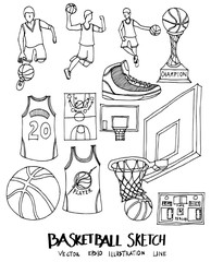 Set of Doodle Basketball Hand drawn Sketch line vector illustration eps10