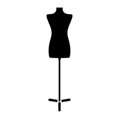 Fashion stand, female torso mannequin the black color icon .