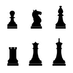 Chess pieces the black color icon .