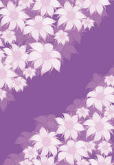 Frame flower. Background of flowers for a poster, invitation, postcard, photo frame, packing paper. On a violet background, white flowers of edelweiss, water lily, lotus.