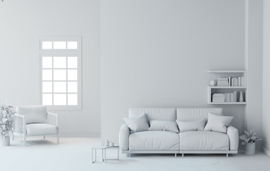 white  interior design background 3D rendering living room.