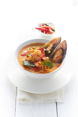 Hot and sour seafood soup.