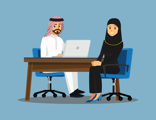 Arabian Business People teamwork ,Vector illustration cartoon character.