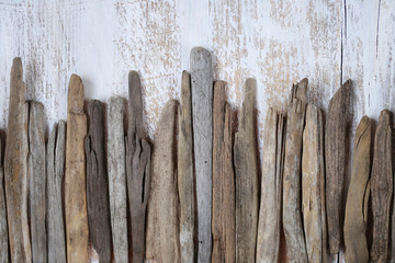 Sea snags horizontal row on the background of a white shabby board. Driftwood background Wall mural