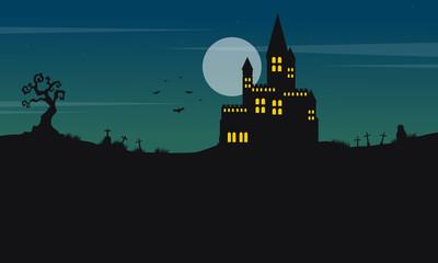 Halloween landscape castle and moon