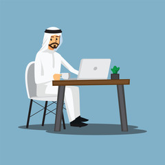 freelance developer ,Arabian or designer working at home,vector character