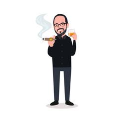 man smoking with drink