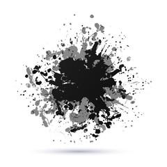 Vector abstract background with big splash. Grunge Vector Illustration. Splatter template. Paint set for design use. Ink spot