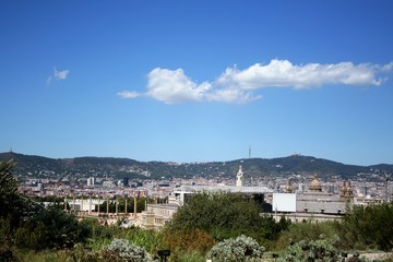 view of Barcelona from Montjuic hill