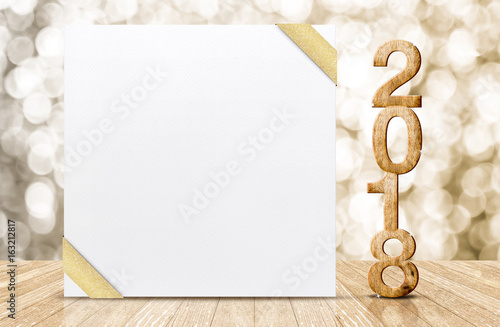 Happy new year 2018 with blank white greeting card with gold ribbon happy new year 2018 with blank white greeting card with gold ribbon in perspective room at m4hsunfo