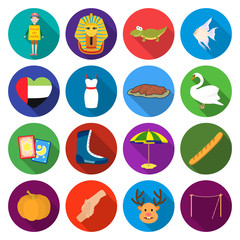 textiles, cafes, hobbies and other web icon in flat style.tourism, leisure, business, icons in set collection.