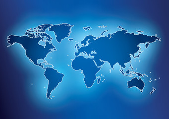 Foto op Plexiglas Wereldkaart bright blue background with map of the world and contour - vector