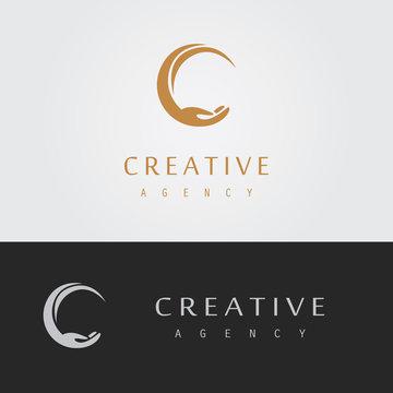 letter C hand logo
