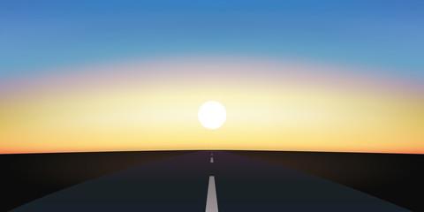 route - coucher de soleil - horizon - fond - liberté - objectif