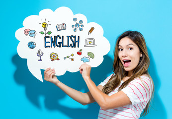 English text with young woman holding a speech bubble on a blue background