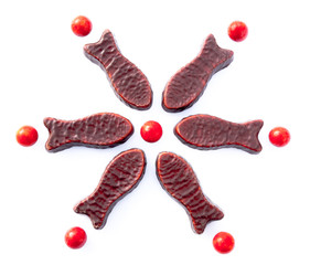 Chocolate fish arranged in seasonal snowflake pattern - kiwiana confectionery in New Zealand, NZ