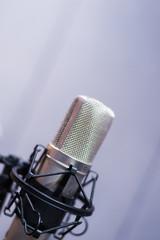 Condenser mic in studio.