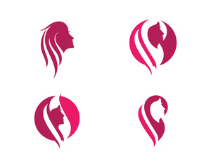 Beauty Women face silhouette character Logo Template