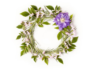 Frame wreath with white and pink flowers, branches, leaves and petals and big purple flower of Clematis. Flat lay, overhead view.