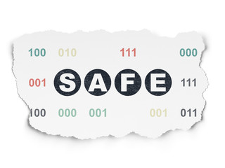 Privacy concept: Safe on Torn Paper background