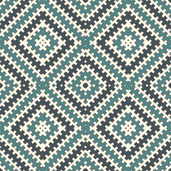 Blue seamless pattern with repeated geometric forms. Ornamental abstract background. Ethnic and tribal motifs.