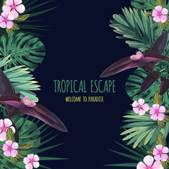 Floral square postcard design with tropical flowers, monstera and royal palm leaves. Exotic hawaiian vector background.