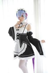 Japan anime cosplay girl in white tone