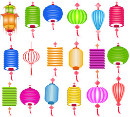Chinese paper lanterns for mid autumn festival on a white background