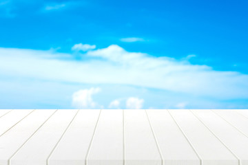 white wood table and blue sky background.