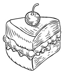 Jam and Cream Cake Vintage Retro Woodcut Style