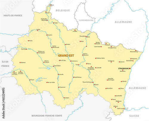 Map of the new French region Grand Est in French\
