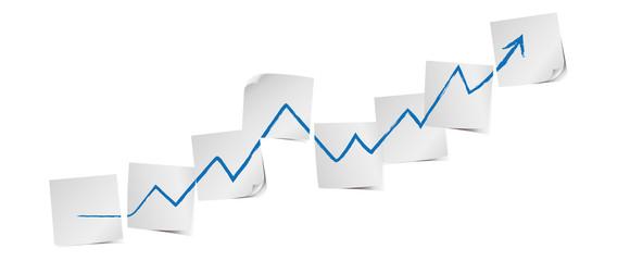 Weiße Zettel mit Pfeil Business Strategie Vektor