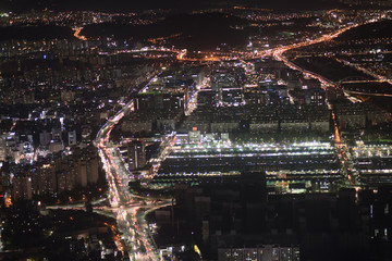 Night view of Seoul city, Korea at night from hight building