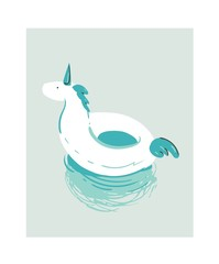 Hand drawn vector abstract cartoon summer time fun illustration with white unicorn swimming pool buoy float circle isolated on blue background.